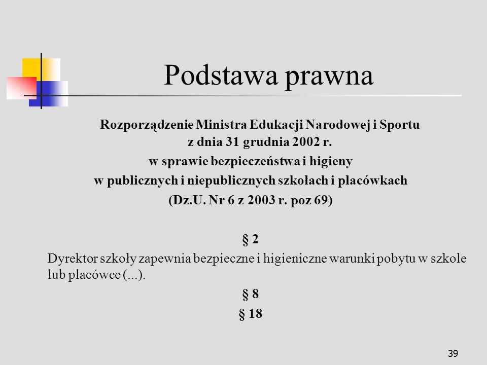 39 Podstawa prawna Rozporządzenie Ministra Edukacji Narodowej i Sportu z dnia 31 grudnia 2002 r.
