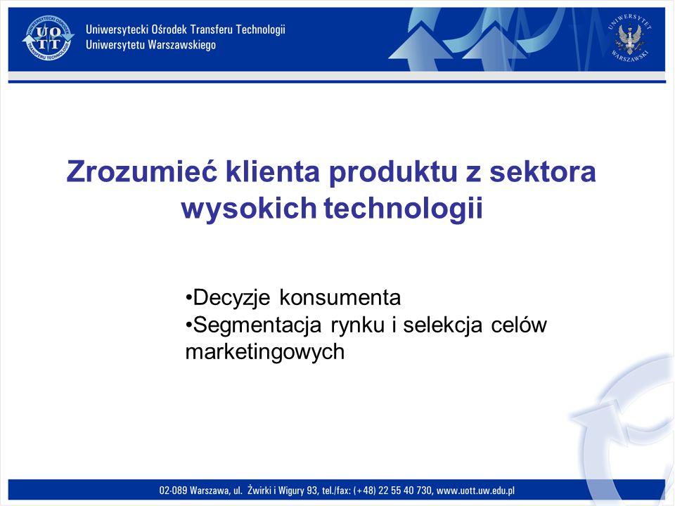 Zrozumieć klienta produktu z sektora wysokich technologii Decyzje konsumenta Segmentacja rynku i selekcja celów marketingowych