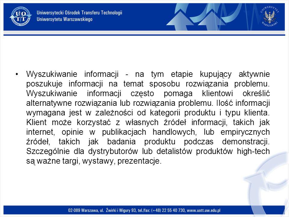 Wyszukiwanie informacji - na tym etapie kupujący aktywnie poszukuje informacji na temat sposobu rozwiązania problemu. Wyszukiwanie informacji często p
