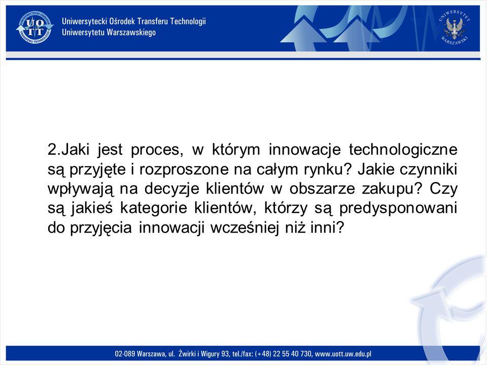 2.Jaki jest proces, w którym innowacje technologiczne są przyjęte i rozproszone na całym rynku? Jakie czynniki wpływają na decyzje klientów w obszarze