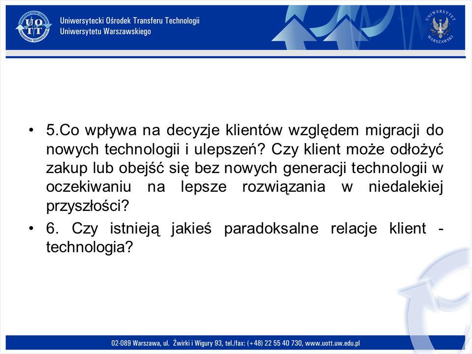 5.Co wpływa na decyzje klientów względem migracji do nowych technologii i ulepszeń? Czy klient może odłożyć zakup lub obejść się bez nowych generacji