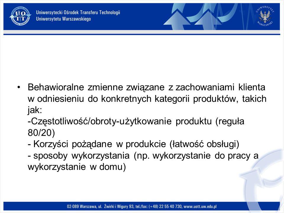 Behawioralne zmienne związane z zachowaniami klienta w odniesieniu do konkretnych kategorii produktów, takich jak: -Częstotliwość/obroty-użytkowanie p