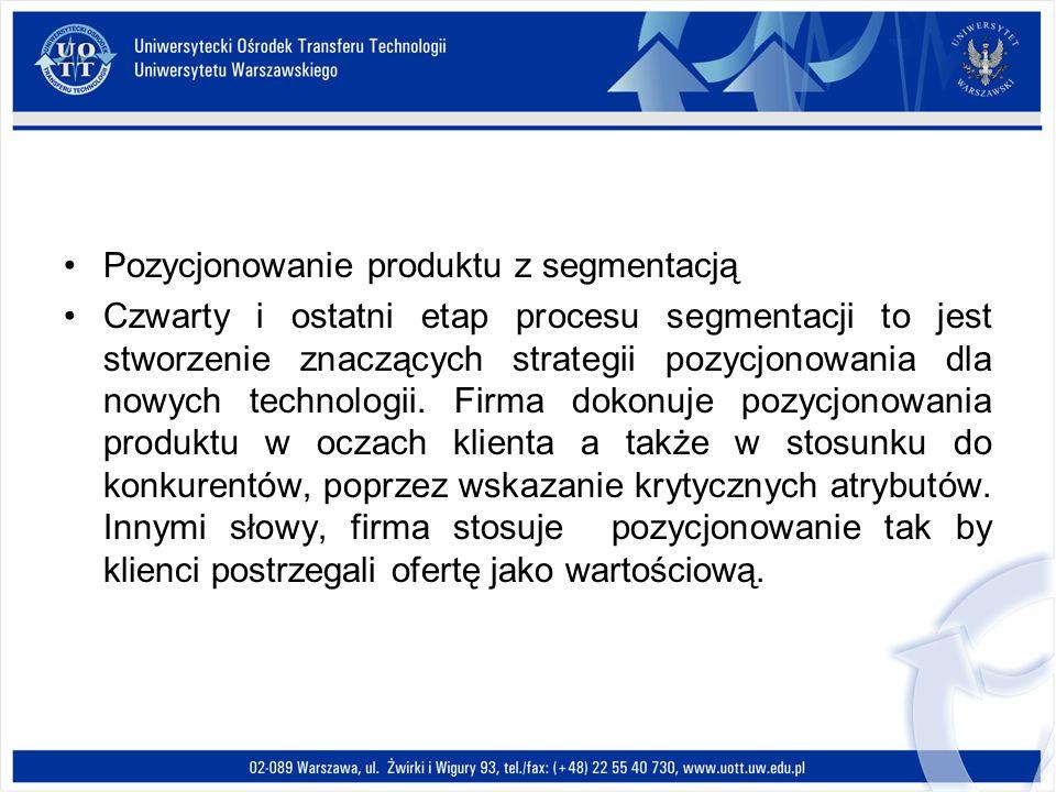 Pozycjonowanie produktu z segmentacją Czwarty i ostatni etap procesu segmentacji to jest stworzenie znaczących strategii pozycjonowania dla nowych tec