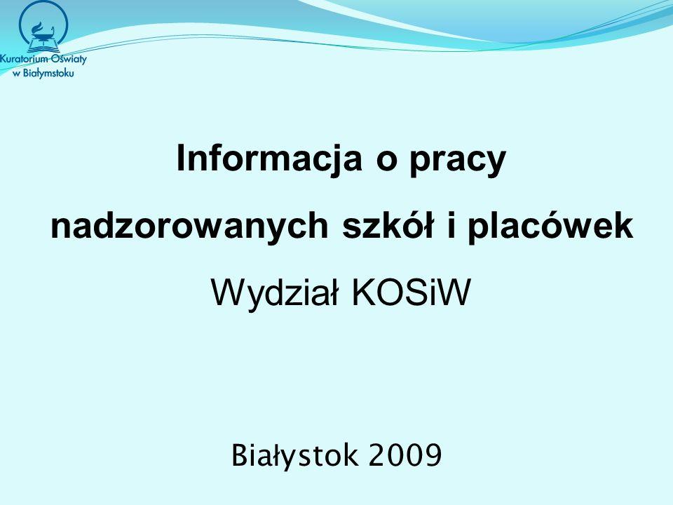 Informacja o pracy nadzorowanych szkół i placówek Wydział KOSiW Bia ł ystok 2009