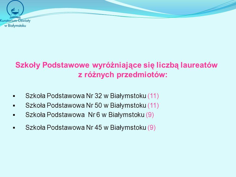 Szkoły Podstawowe wyróżniające się liczbą laureatów z różnych przedmiotów: Szkoła Podstawowa Nr 32 w Białymstoku (11) Szkoła Podstawowa Nr 50 w Białym