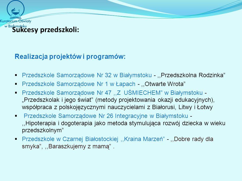 Sukcesy przedszkoli: Realizacja projektów i programów: Przedszkole Samorządowe Nr 32 w Białymstoku -,,Przedszkolna Rodzinka Przedszkole Samorządowe Nr