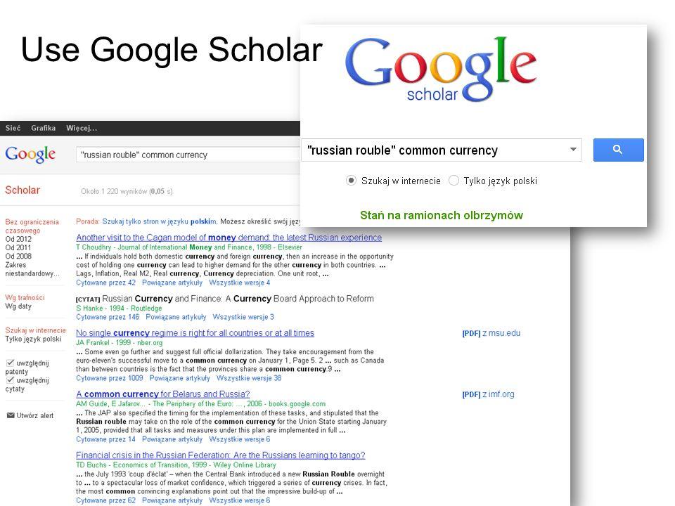 Use Google Scholar