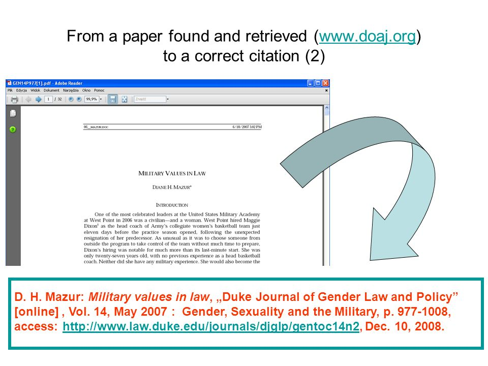 D. H. Mazur: Military values in law, Duke Journal of Gender Law and Policy [online], Vol. 14, May 2007 : Gender, Sexuality and the Military, p. 977-10