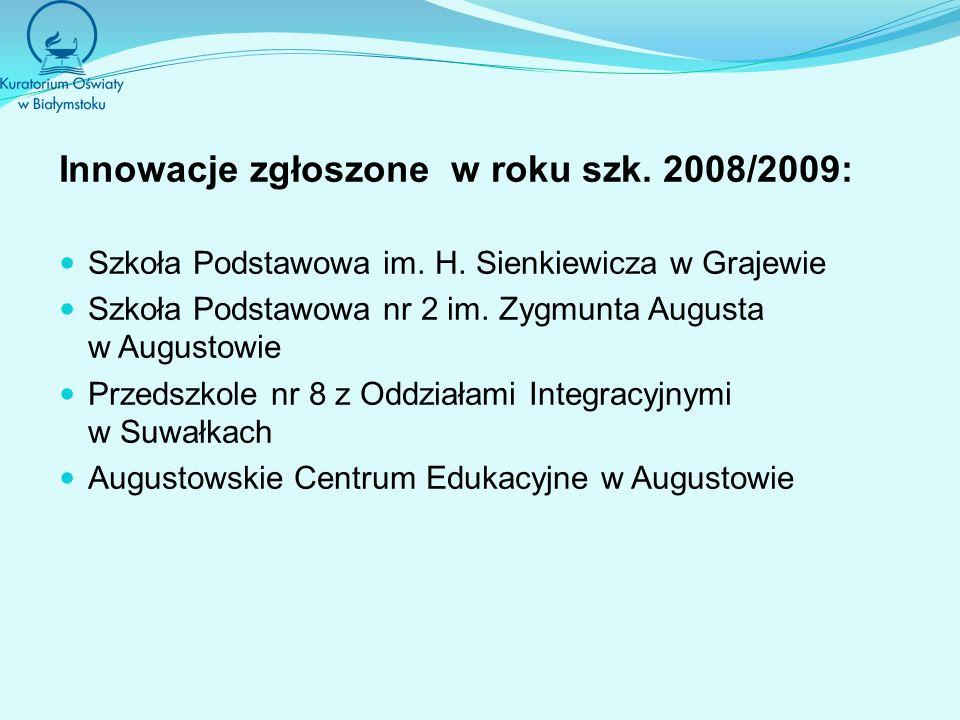 Innowacje zgłoszone w roku szk. 2008/2009: Szkoła Podstawowa im.