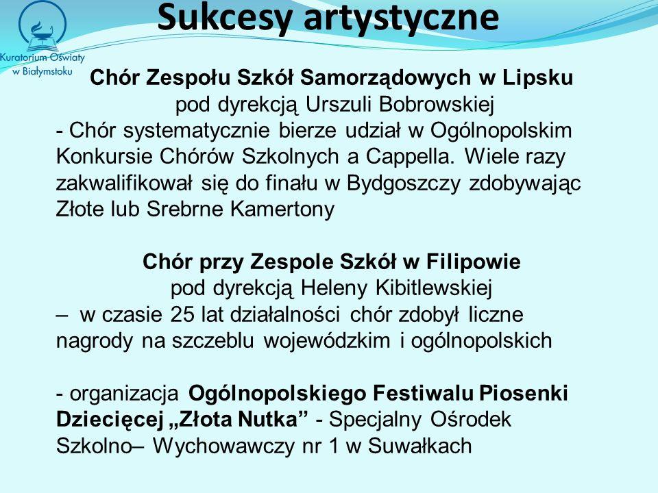 Sukcesy artystyczne Chór Zespołu Szkół Samorządowych w Lipsku pod dyrekcją Urszuli Bobrowskiej - Chór systematycznie bierze udział w Ogólnopolskim Konkursie Chórów Szkolnych a Cappella.