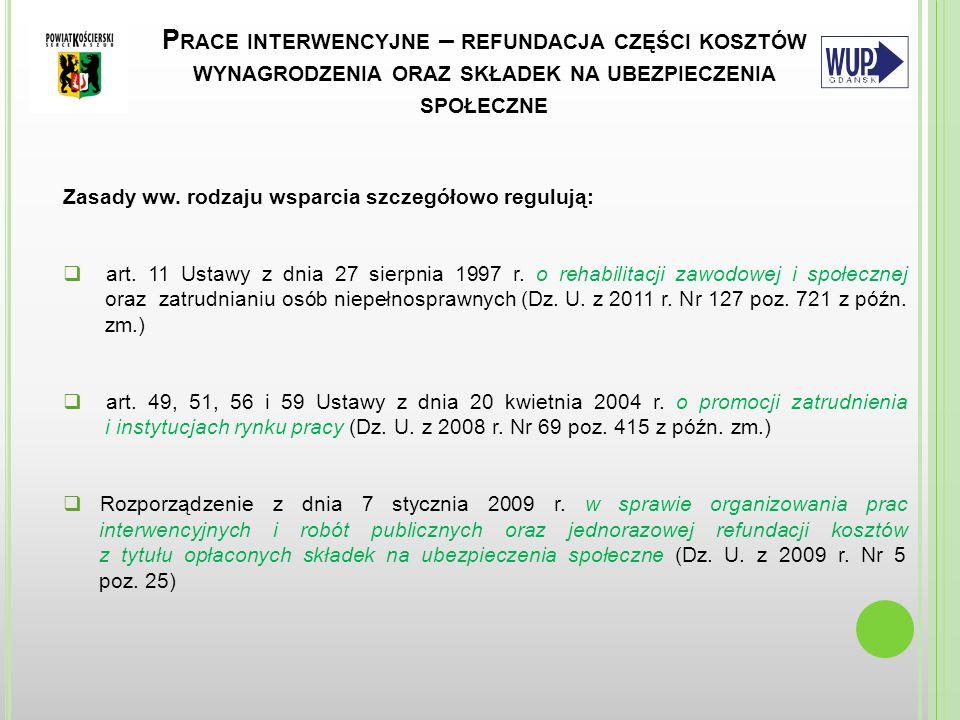D EFINICJA OSOBY NIEPEŁNOSPRAWNEJ Osoba niepełnosprawna bezrobotna lub poszukująca pracy – oznacza to osobę niepełnosprawną zarejestrowaną w Urzędzie jako bezrobotna lub poszukująca pracy niepozostająca w zatrudnieniu, w rozumieniu przepisów ustawy o promocji zatrudnienia i instytucjach rynku pracy (poszukujący pracy – oznacza to osoby, obywateli polskich poszukujących i podejmujących zatrudnienie lub inną pracę zarobkową na terytorium Rzeczypospolitej Polskiej oraz zatrudnienie lub inną pracę zarobkową za granicą u pracodawców zagranicznych; cudzoziemców zamierzających wykonywać lub wykonujących pracę na terytorium Rzeczypospolitej Polskiej; cudzoziemców – członków rodzin cudzoziemców lub cudzoziemca – członka rodziny obywatela polskiego, poszukujących zatrudnienia, innej pracy zarobkowej lub innej formy pomocy określonej w ustawie, zarejestrowanych w powiatowym urzędzie pracy) Niepełnosprawność - oznacza to trwałą lub okresową niezdolność do wypełniania ról społecznych z powodu stałego lub długotrwałego naruszenia sprawności organizmu, w szczególności powodującą niezdolność do pracy
