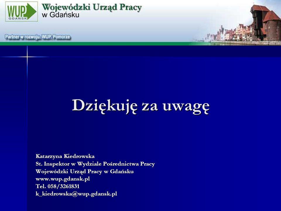 Dziękuję za uwagę Katarzyna Kiedrowska St. Inspektor w Wydziale Pośrednictwa Pracy Wojewódzki Urząd Pracy w Gdańsku www.wup.gdansk.pl Tel. 058/3261831