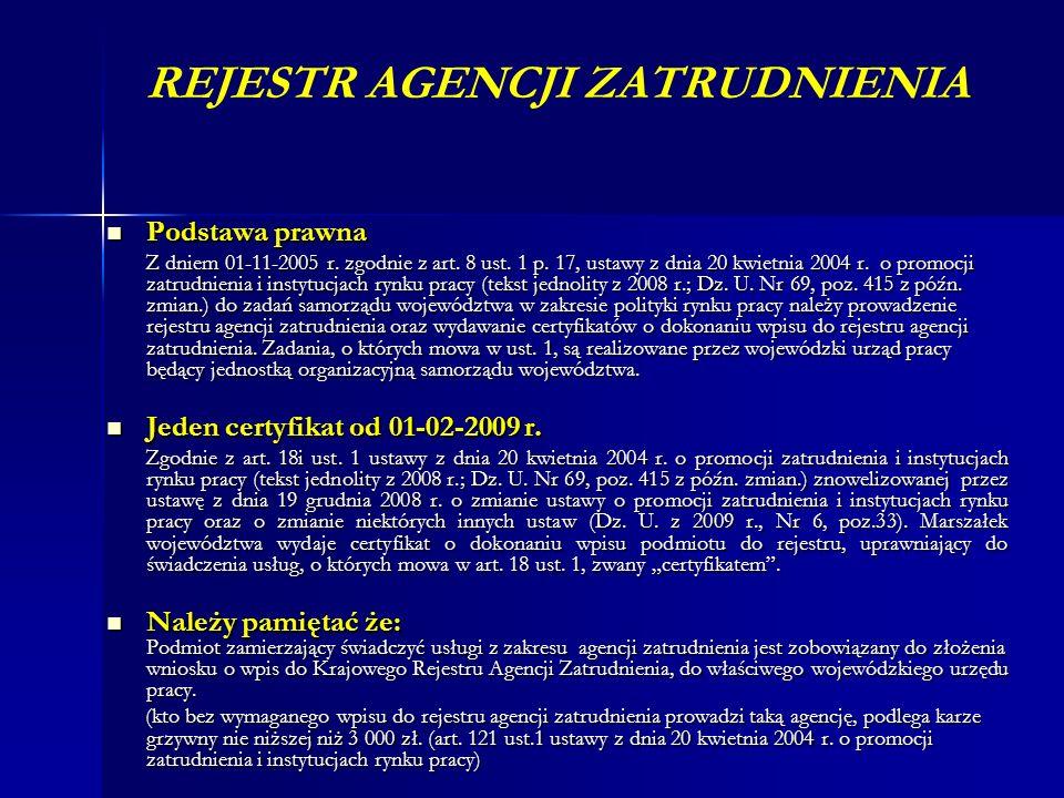 REJESTR AGENCJI ZATRUDNIENIA Podstawa prawna Podstawa prawna Z dniem 01-11-2005 r. zgodnie z art. 8 ust. 1 p. 17, ustawy z dnia 20 kwietnia 2004 r. o