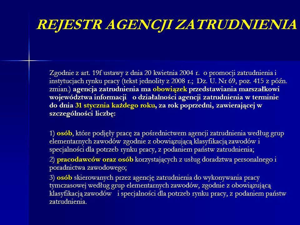 REJESTR AGENCJI ZATRUDNIENIA Zgodnie z art. 19f ustawy z dnia 20 kwietnia 2004 r. o promocji zatrudnienia i instytucjach rynku pracy (tekst jednolity