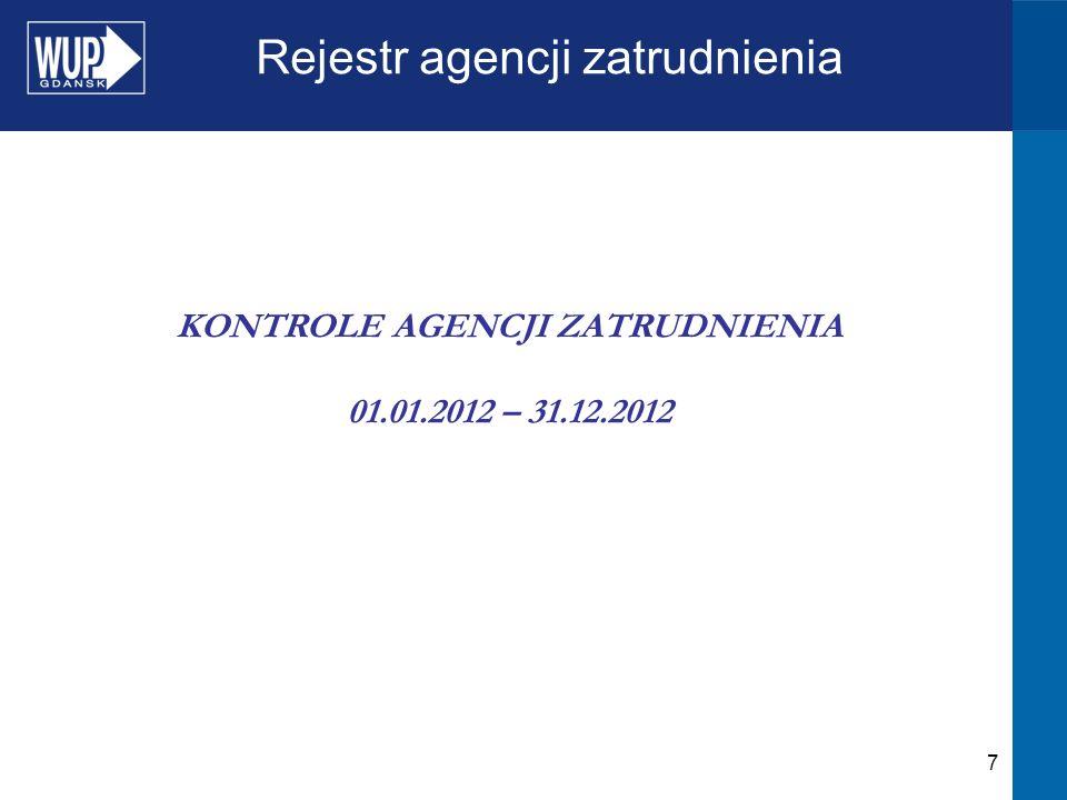 7 Rejestr agencji zatrudnienia KONTROLE AGENCJI ZATRUDNIENIA 01.01.2012 – 31.12.2012