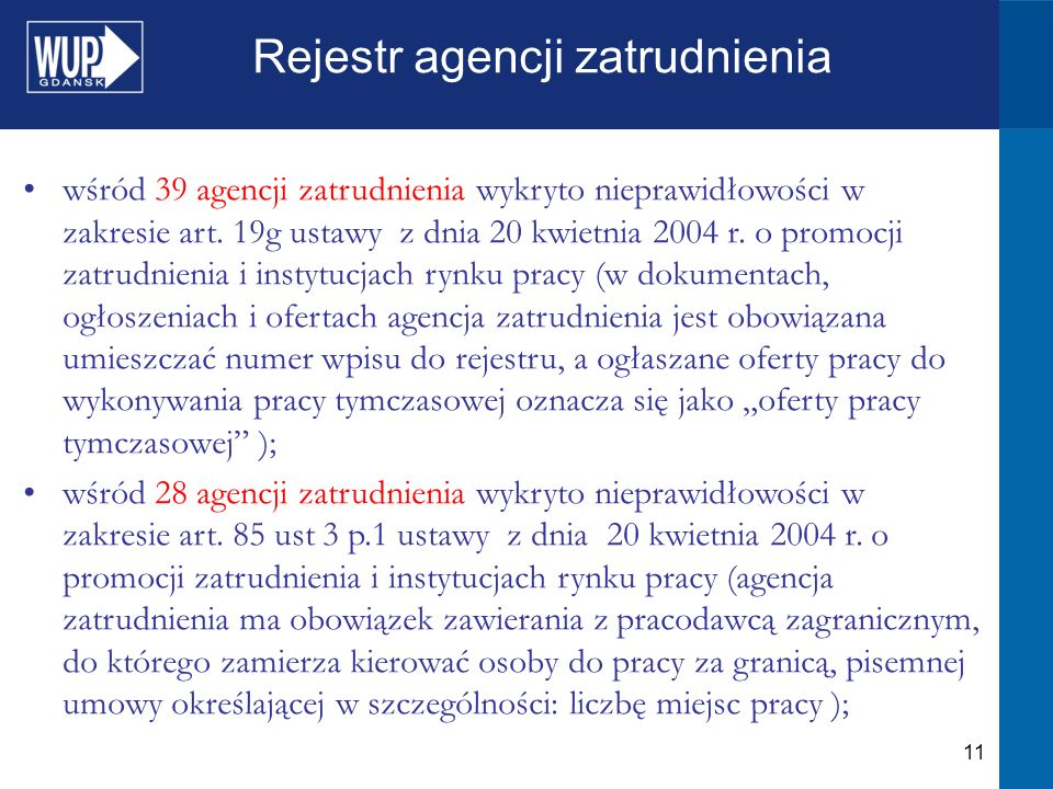 11 Rejestr agencji zatrudnienia wśród 39 agencji zatrudnienia wykryto nieprawidłowości w zakresie art.