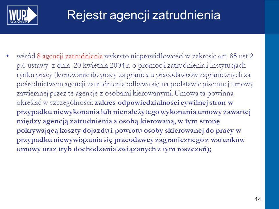 14 Rejestr agencji zatrudnienia wśród 8 agencji zatrudnienia wykryto nieprawidłowości w zakresie art.