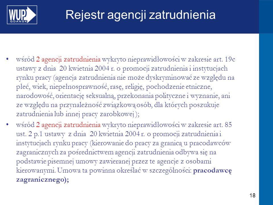 18 Rejestr agencji zatrudnienia wśród 2 agencji zatrudnienia wykryto nieprawidłowości w zakresie art.