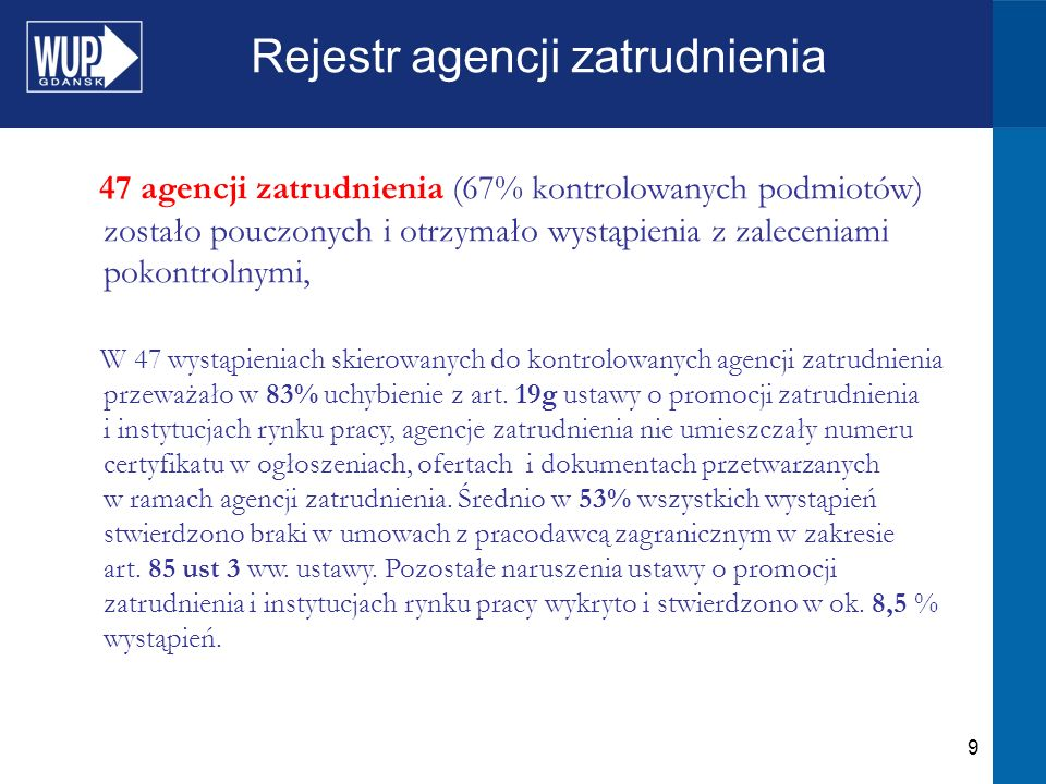 9 Rejestr agencji zatrudnienia 47 agencji zatrudnienia (67% kontrolowanych podmiotów) zostało pouczonych i otrzymało wystąpienia z zaleceniami pokontrolnymi, W 47 wystąpieniach skierowanych do kontrolowanych agencji zatrudnienia przeważało w 83% uchybienie z art.