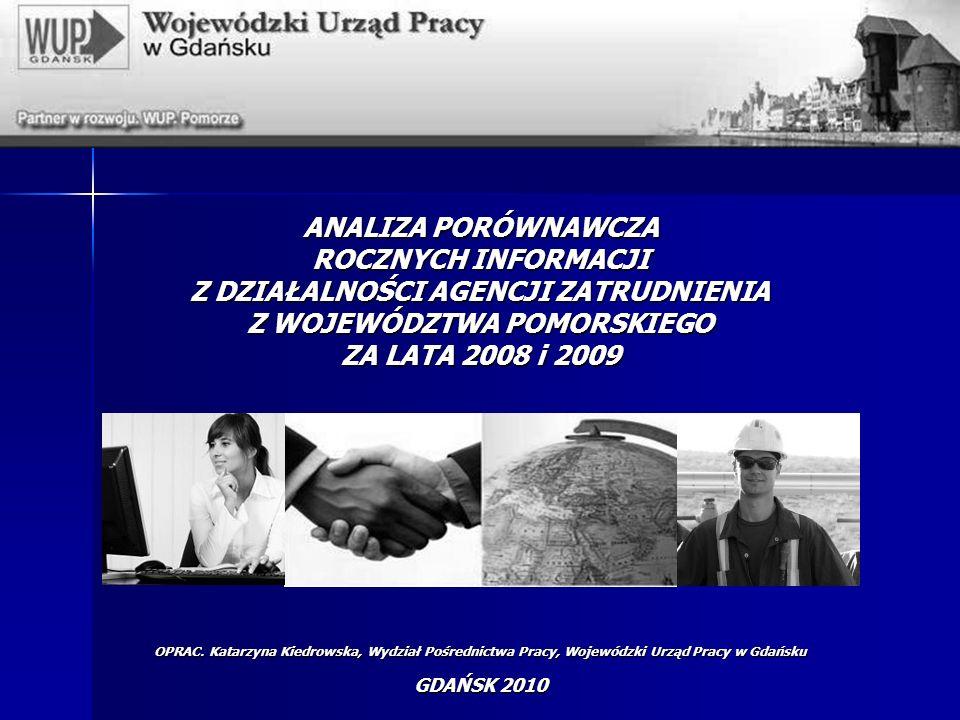 ANALIZA PORÓWNAWCZA ROCZNYCH INFORMACJI Z DZIAŁALNOŚCI AGENCJI ZATRUDNIENIA Z WOJEWÓDZTWA POMORSKIEGO ZA LATA 2008 i 2009 OPRAC.