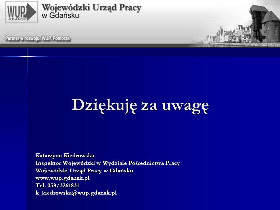 Dziękuję za uwagę Katarzyna Kiedrowska Inspektor Wojewódzki w Wydziale Pośrednictwa Pracy Wojewódzki Urząd Pracy w Gdańsku www.wup.gdansk.pl Tel.