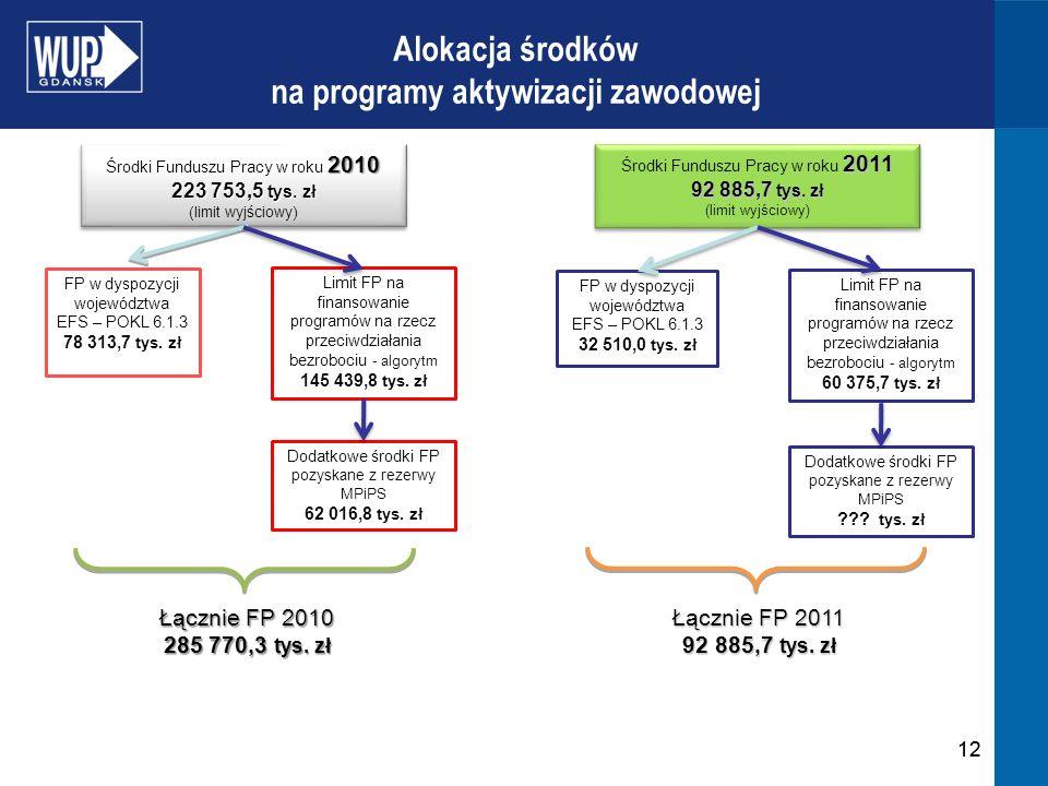12 Alokacja środków na programy aktywizacji zawodowej FP w dyspozycji województwa EFS – POKL 6.1.3 78 313,7 tys. zł 2010 Środki Funduszu Pracy w roku