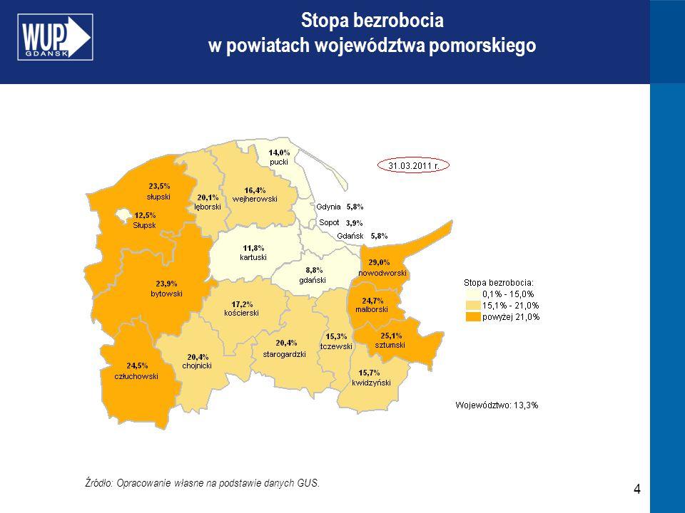 4 Źródło: Opracowanie własne na podstawie danych GUS. Stopa bezrobocia w powiatach województwa pomorskiego