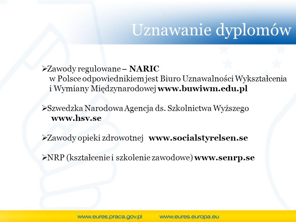 Uznawanie dyplomów Zawody regulowane – NARIC w Polsce odpowiednikiem jest Biuro Uznawalności Wykształcenia i Wymiany Międzynarodowej www.buwiwm.edu.pl