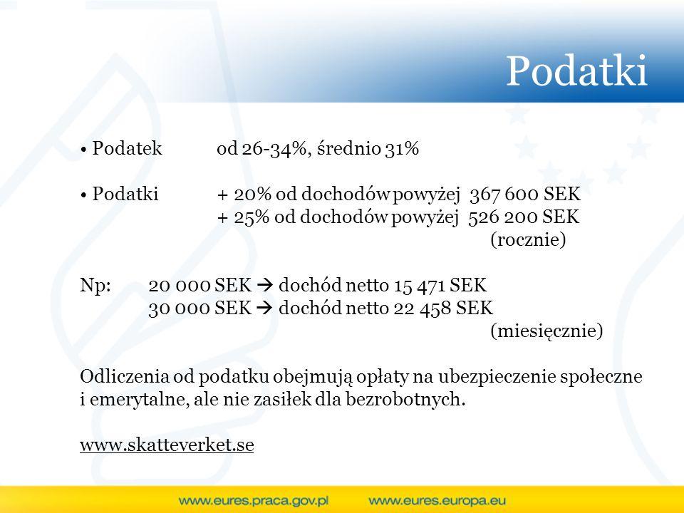 Podatki Podatek od 26-34%, średnio 31% Podatki+ 20% od dochodów powyżej 367 600 SEK + 25% od dochodów powyżej 526 200 SEK (rocznie) Np: 20 000 SEK doc