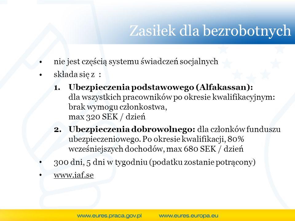 Zasiłek dla bezrobotnych nie jest częścią systemu świadczeń socjalnych składa się z : 1.Ubezpieczenia podstawowego (Alfakassan): dla wszystkich pracow