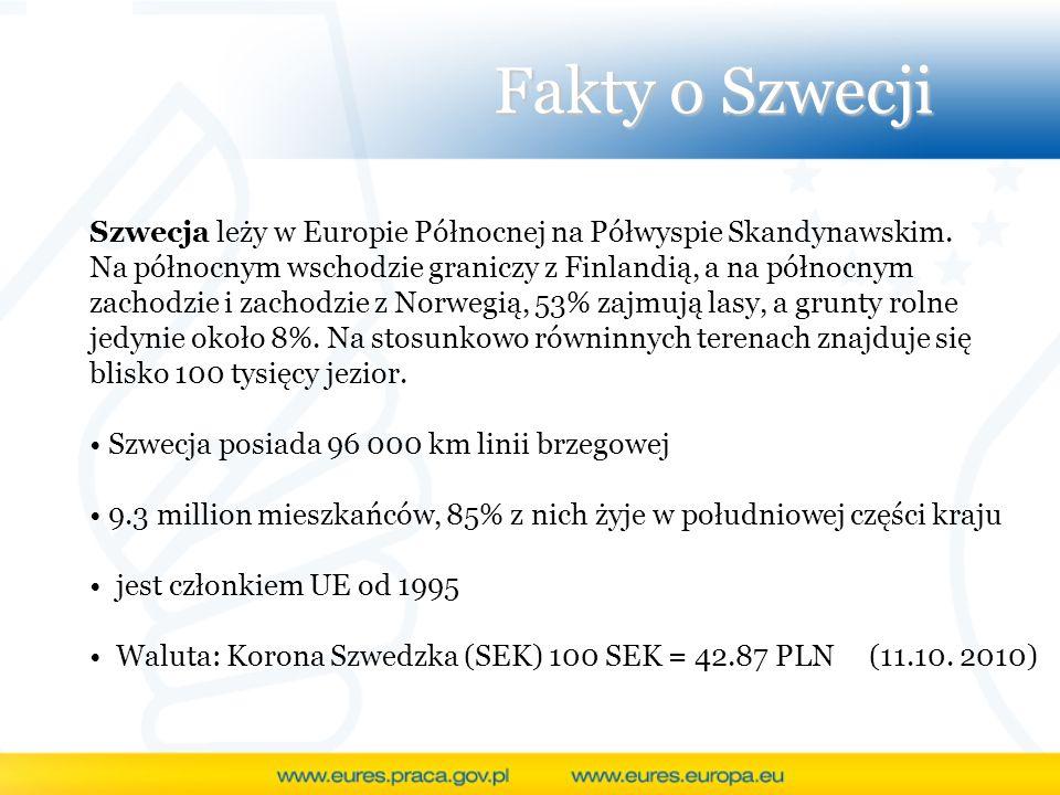 Fakty o Szwecji Szwecja leży w Europie Północnej na Półwyspie Skandynawskim. Na północnym wschodzie graniczy z Finlandią, a na północnym zachodzie i z