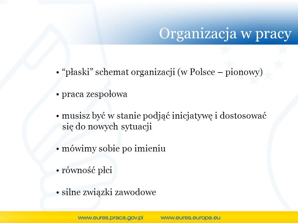 Organizacja w pracy płaski schemat organizacji (w Polsce – pionowy) praca zespołowa musisz być w stanie podjąć inicjatywę i dostosować się do nowych s