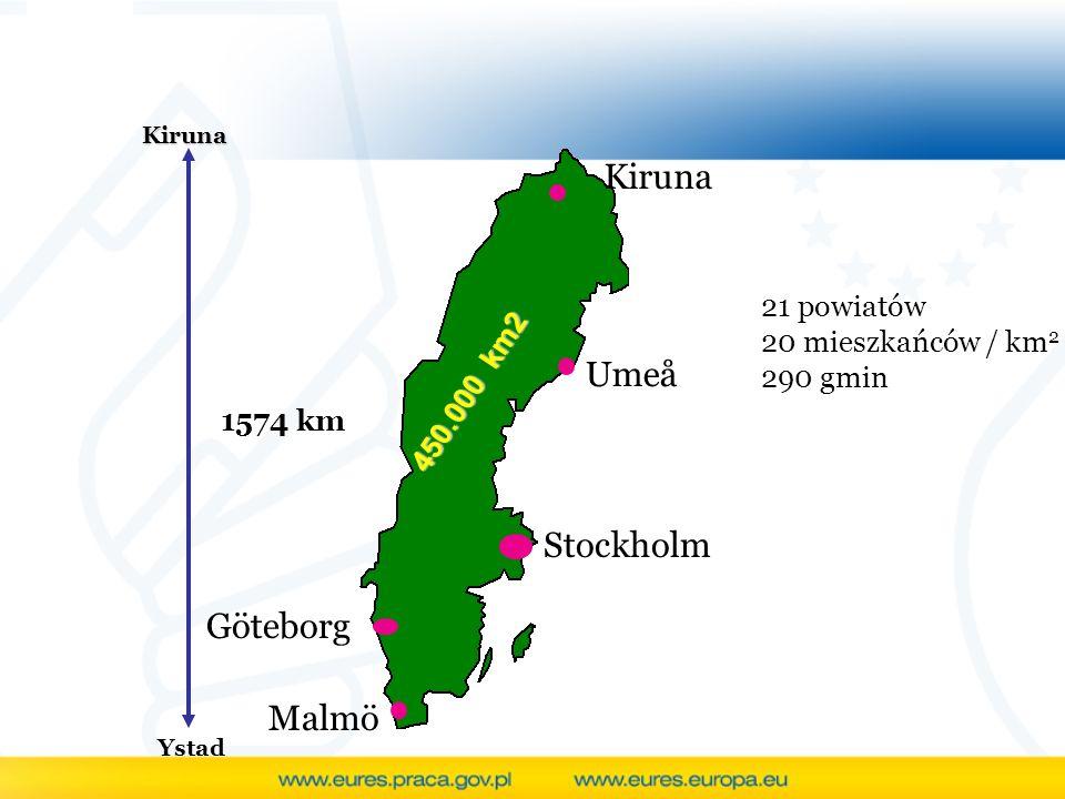 Kiruna Ystad 1574 km Göteborg Malmö Kiruna Umeå Stockholm 21 powiatów 20 mieszkańców / km 2 290 gmin 450.000 km2