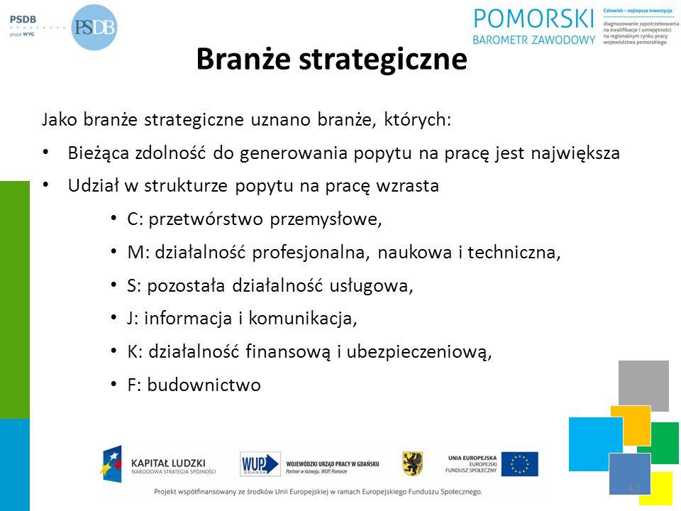 Branże strategiczne Jako branże strategiczne uznano branże, których: Bieżąca zdolność do generowania popytu na pracę jest największa Udział w struktur