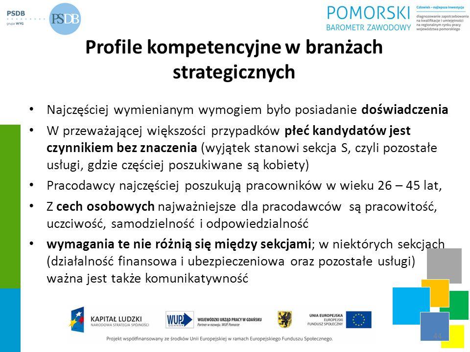 Profile kompetencyjne w branżach strategicznych Najczęściej wymienianym wymogiem było posiadanie doświadczenia W przeważającej większości przypadków p