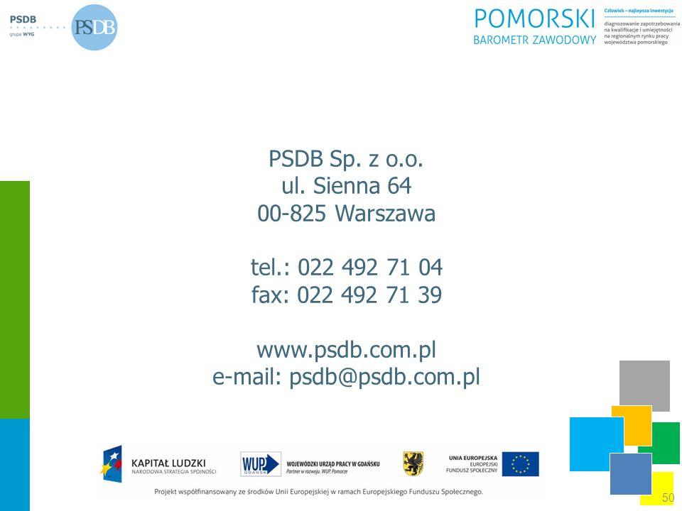 PSDB Sp. z o.o. ul. Sienna 64 00-825 Warszawa tel.: 022 492 71 04 fax: 022 492 71 39 www.psdb.com.pl e-mail: psdb@psdb.com.pl 50