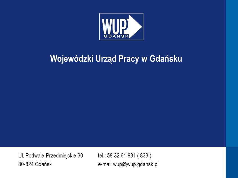 Ul. Podwale Przedmiejskie 30 tel.: 58 32 61 831 ( 833 ) 80-824 Gdańsk e-mai: wup@wup.gdansk.pl Wojewódzki Urząd Pracy w Gdańsku