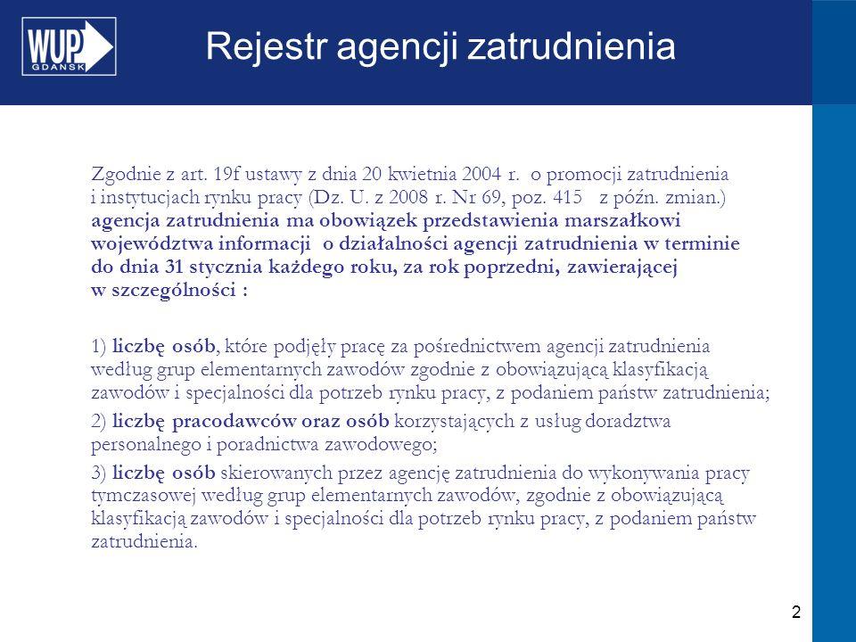 2 Rejestr agencji zatrudnienia Zgodnie z art. 19f ustawy z dnia 20 kwietnia 2004 r. o promocji zatrudnienia i instytucjach rynku pracy (Dz. U. z 2008