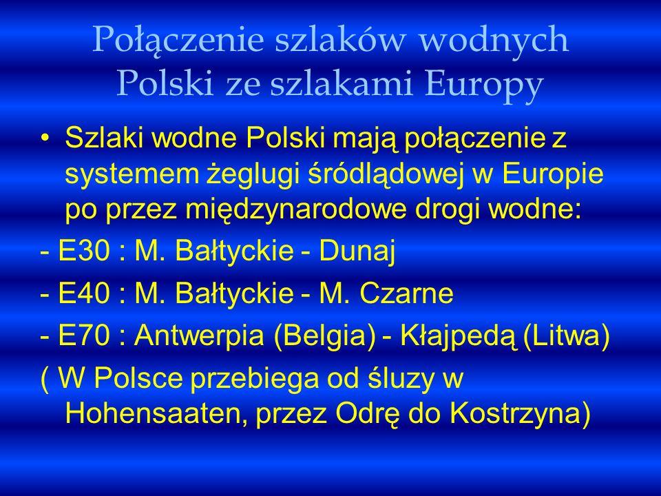 Połączenie szlaków wodnych Polski ze szlakami Europy Szlaki wodne Polski mają połączenie z systemem żeglugi śródlądowej w Europie po przez międzynarod