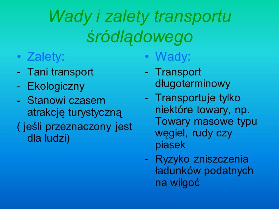 Wady i zalety transportu śródlądowego Zalety: -Tani transport -Ekologiczny -Stanowi czasem atrakcję turystyczną ( jeśli przeznaczony jest dla ludzi) W