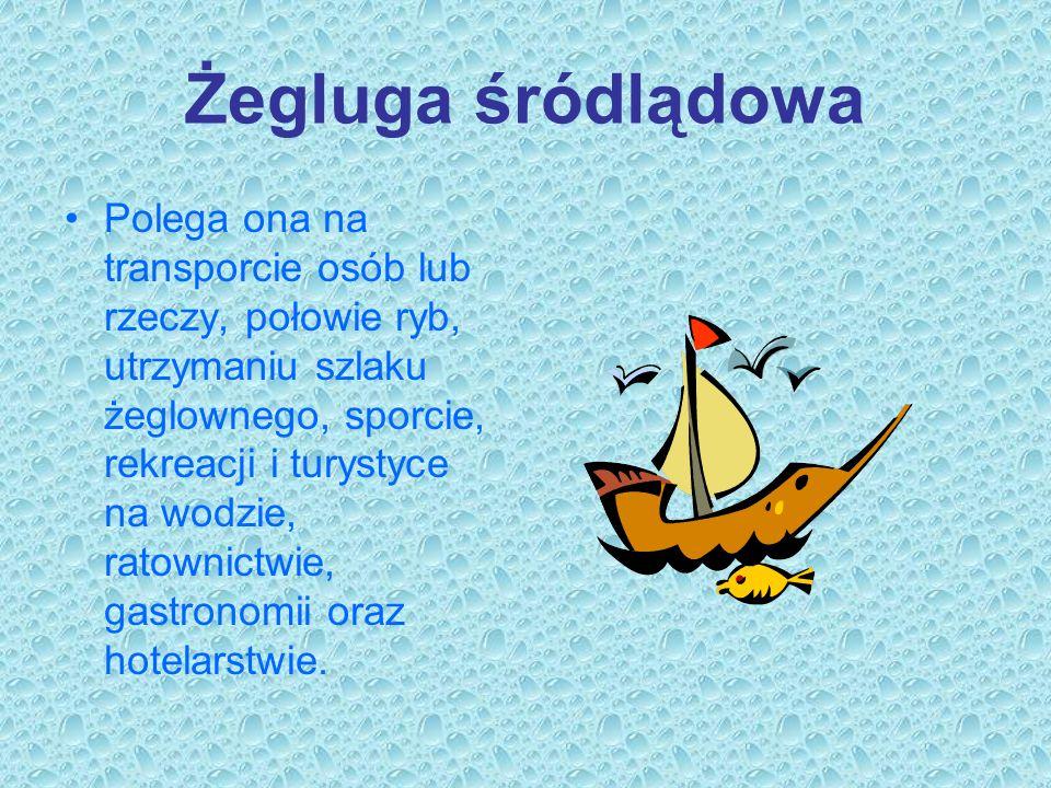Żegluga śródlądowa Polega ona na transporcie osób lub rzeczy, połowie ryb, utrzymaniu szlaku żeglownego, sporcie, rekreacji i turystyce na wodzie, rat