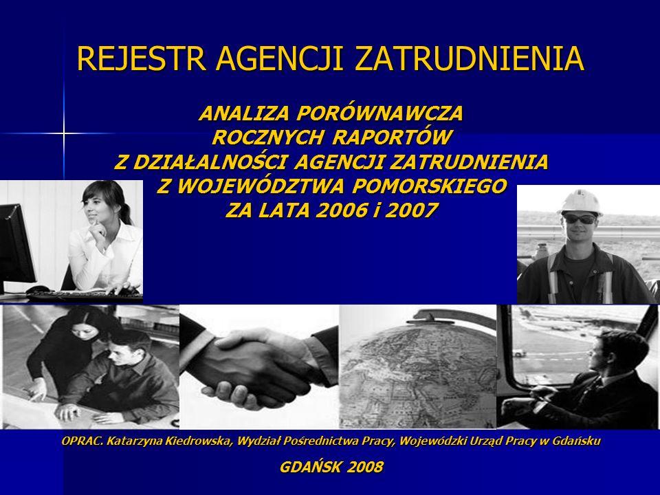 REJESTR AGENCJI ZATRUDNIENIA ANALIZA PORÓWNAWCZA ROCZNYCH RAPORTÓW Z DZIAŁALNOŚCI AGENCJI ZATRUDNIENIA Z WOJEWÓDZTWA POMORSKIEGO ZA LATA 2006 i 2007 OPRAC.