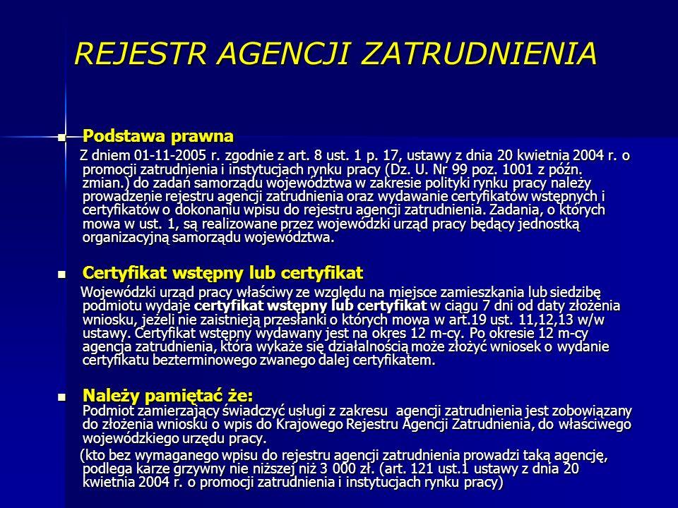 REJESTR AGENCJI ZATRUDNIENIA Podstawa prawna Podstawa prawna Z dniem 01-11-2005 r.