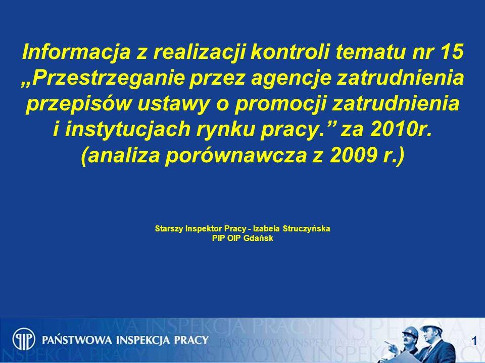 1 Informacja z realizacji kontroli tematu nr 15 Przestrzeganie przez agencje zatrudnienia przepisów ustawy o promocji zatrudnienia i instytucjach rynku pracy.