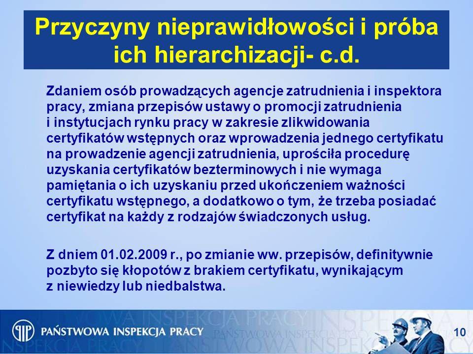 Przyczyny nieprawidłowości i próba ich hierarchizacji- c.d.