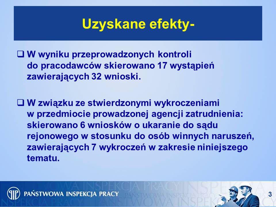 Uzyskane efekty- W wyniku przeprowadzonych kontroli do pracodawców skierowano 17 wystąpień zawierających 32 wnioski.