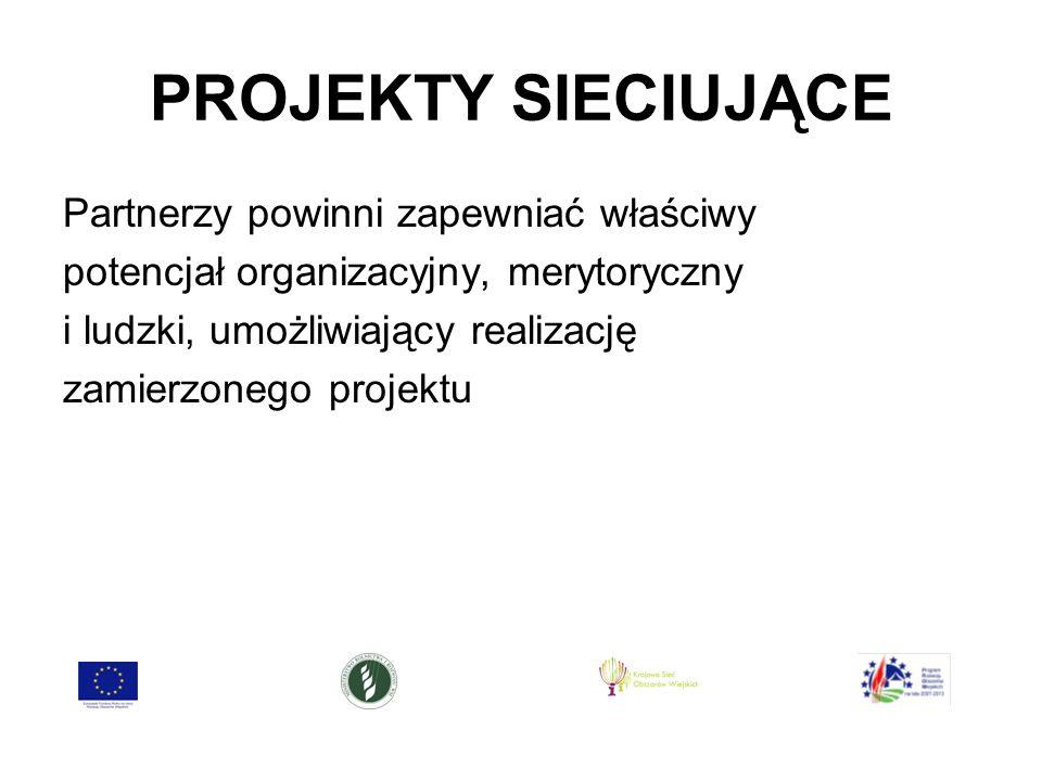 PROJEKTY SIECIUJĄCE Partnerzy powinni zapewniać właściwy potencjał organizacyjny, merytoryczny i ludzki, umożliwiający realizację zamierzonego projektu