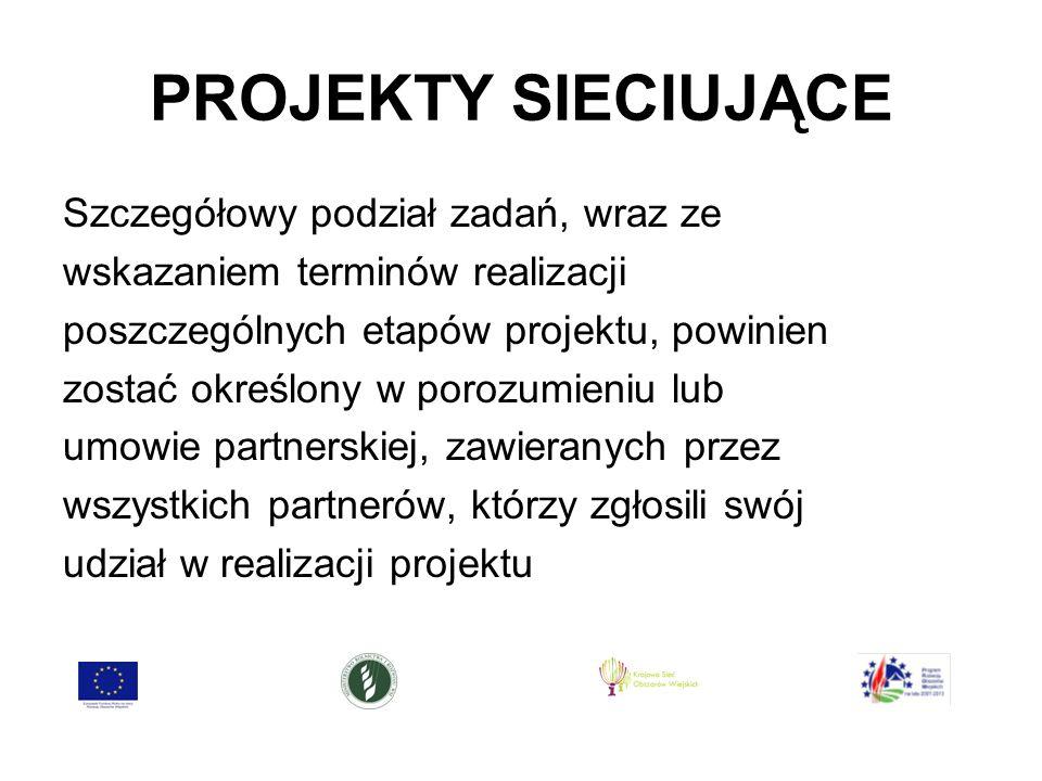 PROJEKTY SIECIUJĄCE Szczegółowy podział zadań, wraz ze wskazaniem terminów realizacji poszczególnych etapów projektu, powinien zostać określony w porozumieniu lub umowie partnerskiej, zawieranych przez wszystkich partnerów, którzy zgłosili swój udział w realizacji projektu
