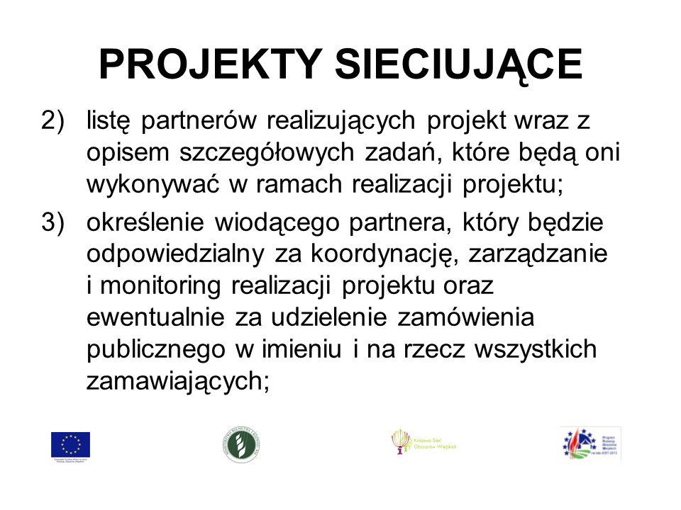 PROJEKTY SIECIUJĄCE 2)listę partnerów realizujących projekt wraz z opisem szczegółowych zadań, które będą oni wykonywać w ramach realizacji projektu; 3)określenie wiodącego partnera, który będzie odpowiedzialny za koordynację, zarządzanie i monitoring realizacji projektu oraz ewentualnie za udzielenie zamówienia publicznego w imieniu i na rzecz wszystkich zamawiających;