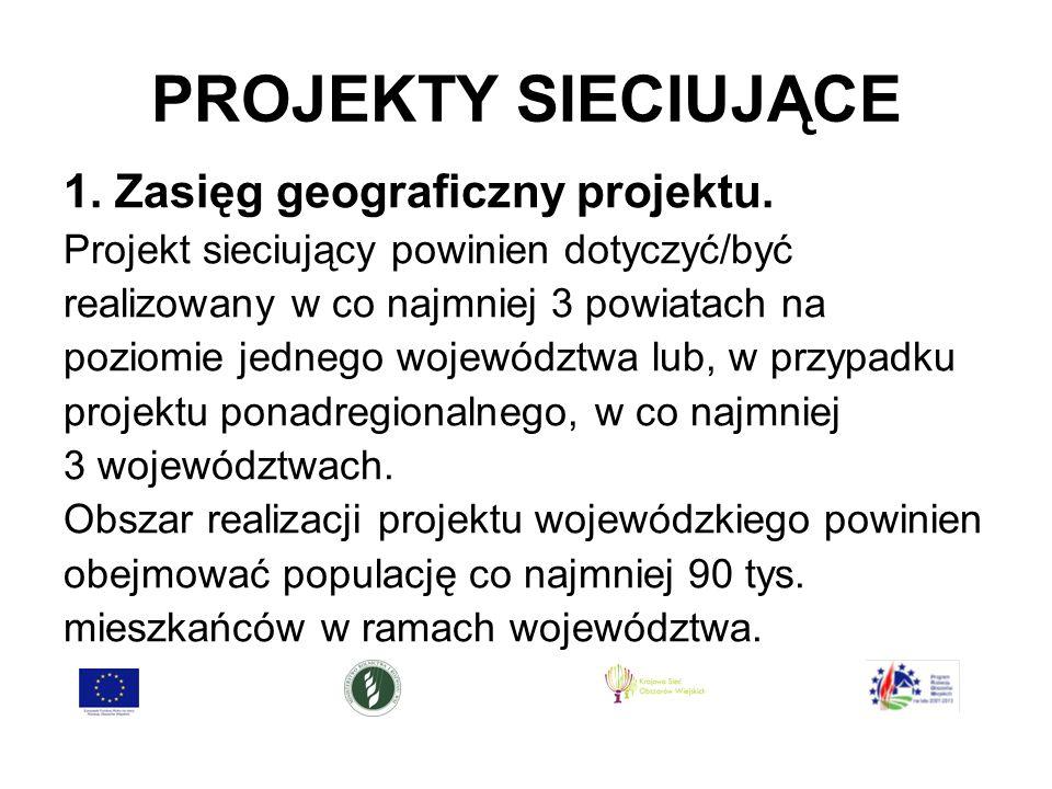 PROJEKTY SIECIUJĄCE 1. Zasięg geograficzny projektu.